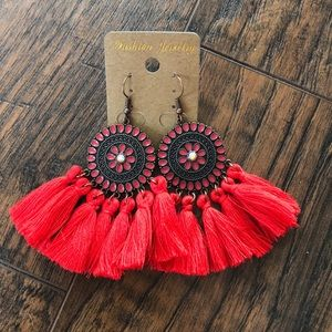 Red design dangle tassel earrings